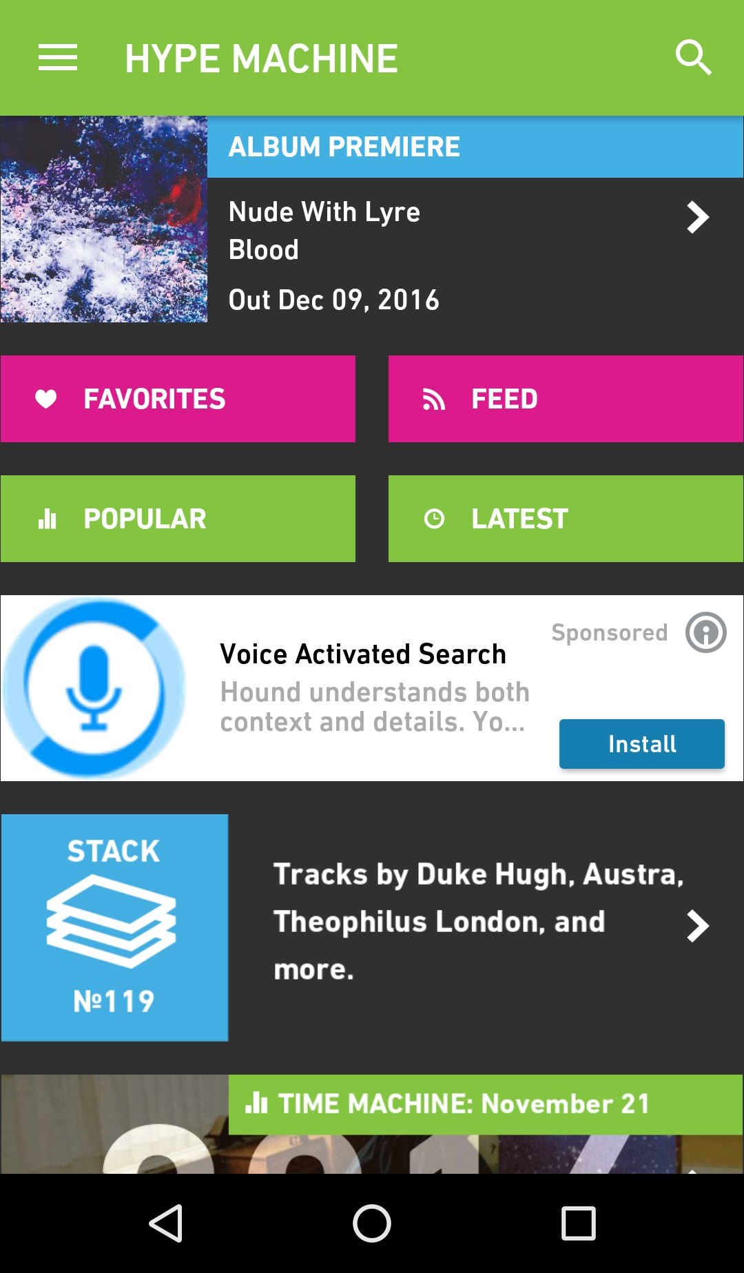 Hype Machine Android Front Screen with Ad